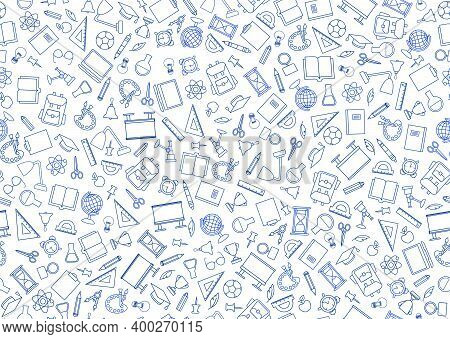 School Education Seamless Pattern. Education Symbols Sketch Backdrop With School Supplies. Back To S