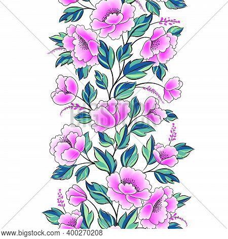 Floral Background. Flower Rose Bouquet Seamless Decorative Garland Border. Flourish Spring Floral Gr