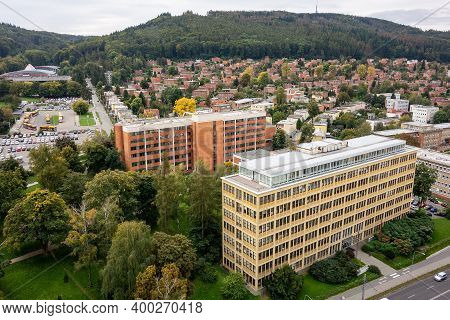 The Cityscape Of Zlin Town And Bata Houses Estates Built On A Hill