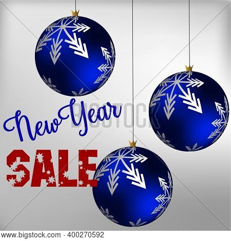 New Years Discounts. Christmas Balls With Snowflakes. Holiday Discounts. Christmas Discounts. Illust
