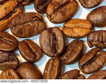 Coffee Beans Of The Arabica Variety, Separated And Roasted, Seed Contained In The Berries Of The Pla