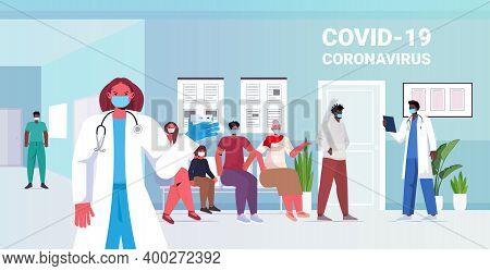 Mix Race Patients In Masks Getting Rapid Test For Coronavirus Pcr Diagnostic Procedure Covid-19 Pand