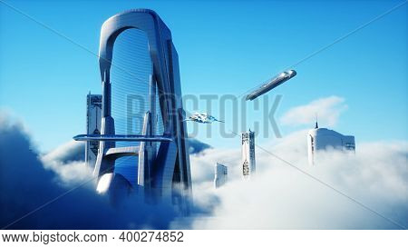 Futuristic Sci Fi City In Clouds. Utopia. Concept Of The Future. Flying Passenger Transport. Aerial