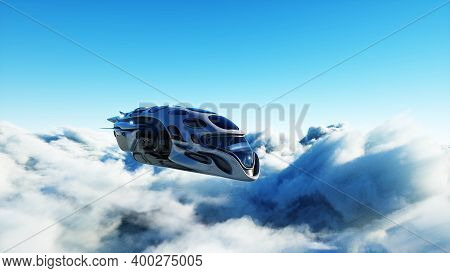 Futuristic Sci Fi Ship Flying In The Clouds. 3d Rendering.