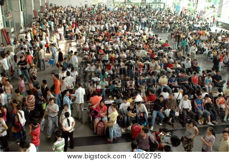 Chinese Bus Station - Crowd Of People