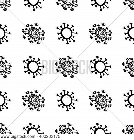 Seamless Pattern Of Coronavirus Microbes. Coronavirus 2019-ncov. Doodle Simple Line Elements From A