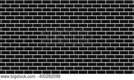 Black, Dark Brick Wall, Background. Rough Rocks And White Seams. Grunge Wallpaper Stonewall, Vintage