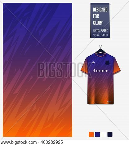 Fabric Pattern Design. Mosaic Pattern On Blue Background For Soccer Jersey, Football Kit, Bicycle, E