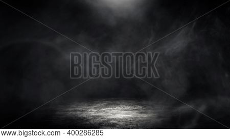Empty Space Studio Dark Room Of Concrete Floor Grunge Texture Background With Spot Lighting And Fog
