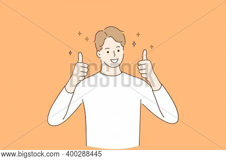Winner, Cheerful Mood And Thumbs Up Concept. Young Smiling Man Wearing Casual Clothes Cartoon Charac