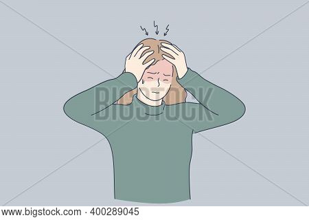 Stress, Headache, Depression Concept. Unhappy Depressed Stressed Young Girl Touching Head With Finge