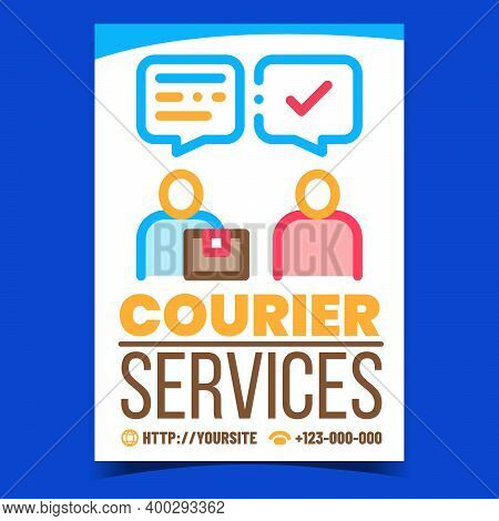 Courier Services Creative Promotion Banner Vector. Courier Delivering Order To Customer Advertising