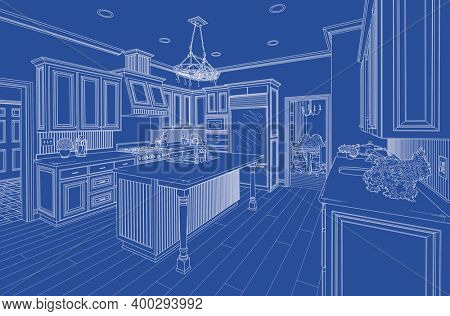 Beautiful Custom Kitchen Blueprint Design Drawing.