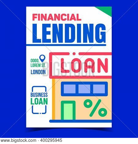Financial Lending Office Promotion Poster Vector. Financial Building On Advertising Banner. Loan Bus