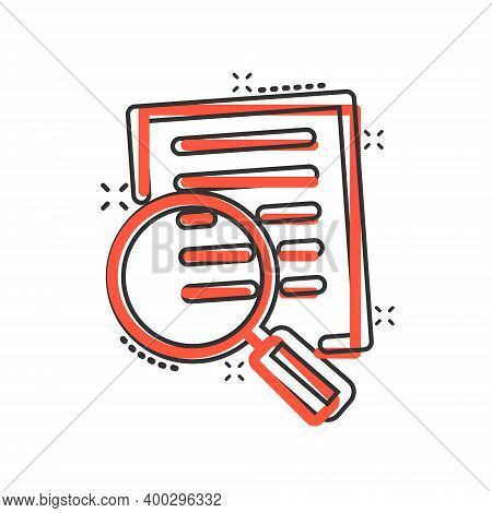 Financial Statement Icon In Comic Style. Result Cartoon Vector Illustration On White Isolated Backgr