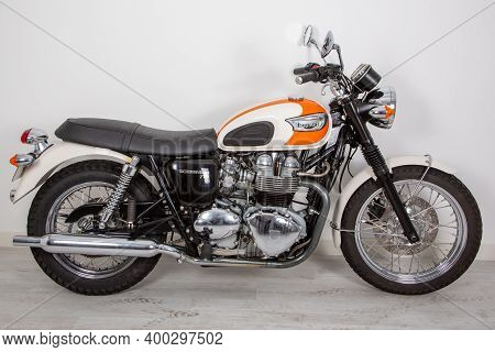 Bordeaux , Aquitaine  France - 12 15 2020 : Triumph Motorcycle Side View With Sign Text And Logo On