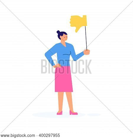 Woman With Dislike Symbol Giving Her Choice For Feedback Vector Concept. Customer Review And Satisfa