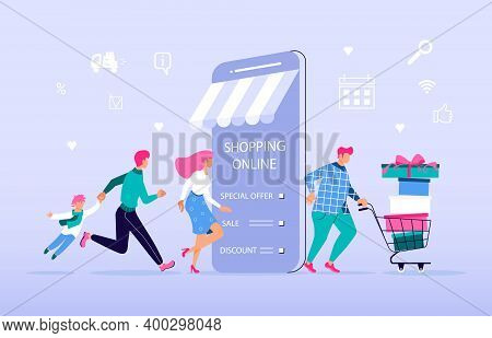 Ecommerce Retail On Device For Customer Application On Blue Background. People Going For Shopping To