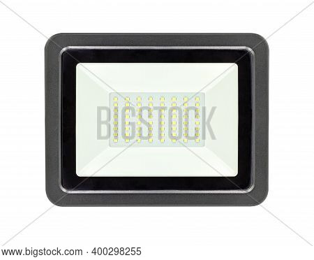 Led Flood Light Isolated On White Background With Clipping Path.