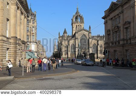 Edinburgh, Great Britain - September 10, 2014: This Is St Giles Cathedral, Which Is In The Middle Of