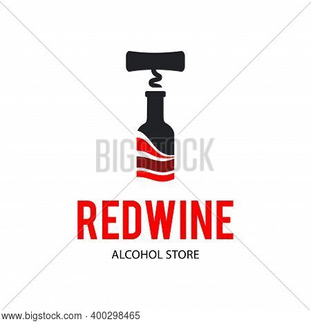 Sign Black Corkscrew And A Bottle Of Red Wine. Design Modern Logos
