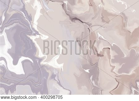 Beige And Lilac Liquid Marble Canvas Abstract Painting Background.