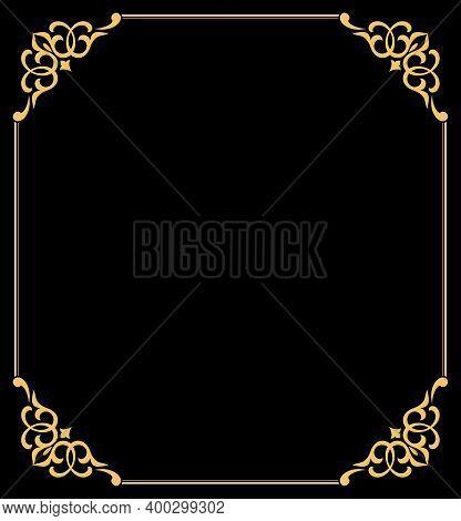 Decorative Frame Elegant Element For Design In Eastern Style, Place For Text. Floral Golden Border.
