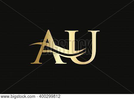 Initial Gold Letter Au Logo Design. Au Logo Design With Modern Trendy
