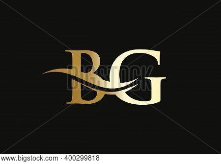 Initial Bg Letter Linked Logo Vector Template. Swoosh Letter Bg Logo Design. B G Logo Design With Mo