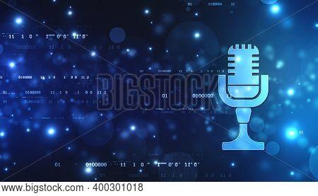 Voice Assistant Concept. Microphone Voice Control Technology, Hi-tech Ai Assistant Voice, Personal A