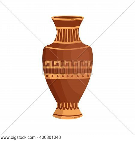 Antique Greek Vase With Traditional Hellenic Ornaments Vector Flat Cartoon Illustration. Ancient Gre