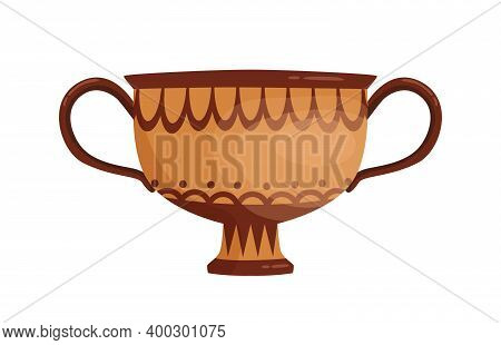 Greek Vase Decorated By Hellenic Ornaments Vector Flat Illustration. Traditional Antique Handmade Ve