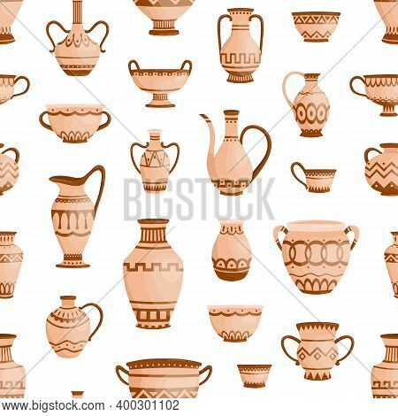 Handmade Antique Greek Pottery Seamless Pattern. Ancient Vases Decorated By Hellenic Ornaments Vecto