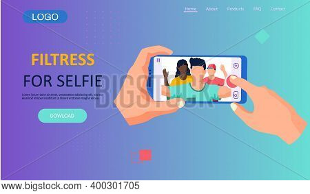 Modern Filters For Selfie Screen Interface Photo Frame In Social Media Application With Portrait Of