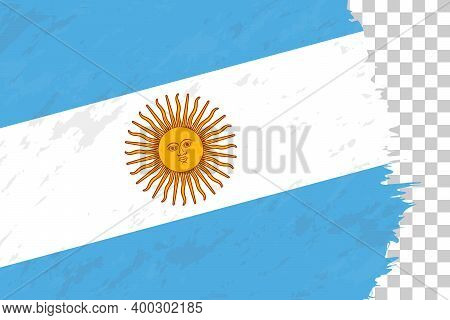 Horizontal Abstract Grunge Brushed Flag Of Argentina On Transparent Grid. Vector Template.