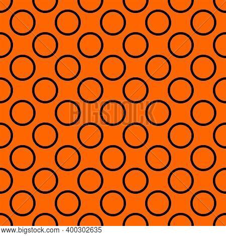 Tile Vector Pattern With Big Black Polka Dots On Orange Background