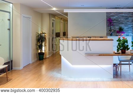 Reception Area With Reception Desk In Gym Fitness Center