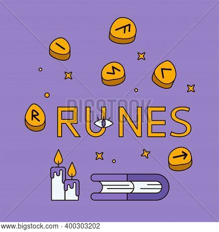 Logo For A Tarot Reader, Runes, Print For Souvenirs, A Set Of Drawings About Tarot Card. Fortune Tel