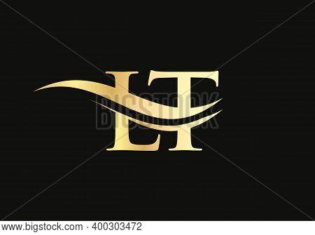 Initial Gold Letter Lt Logo Design. Lt Logo Design With Modern Trendy