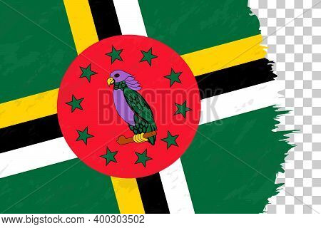Horizontal Abstract Grunge Brushed Flag Of Dominica On Transparent Grid. Vector Template.
