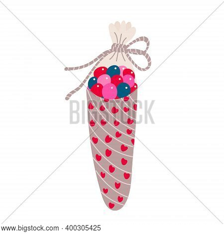 Cone Bag With Sweets Decorated With Hearts And Twine Rope. Valentine's Day Decoration. Vector  Illus