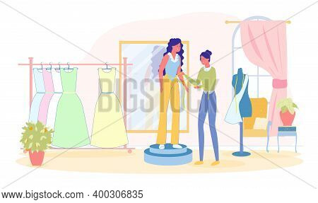 Custom Woman Dressmaker Take Measurement From Young Lady For Dress Tailoring. Girl In Tailoring Shop