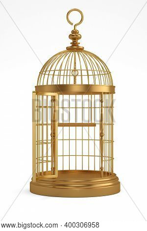 Copper Bird Cage Isolated On White Background, 3D Render. 3D Illustration.