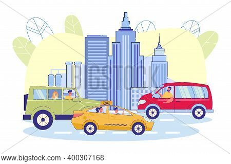 On Road Against Background City, Cars And Taxis. Urban Residents Move Around City In Their Own Cars