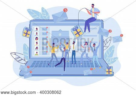 Email Phishing. Mass Emailing Marketing, Spamming. Man Offering With Gift Certificate Or Flyer Hange