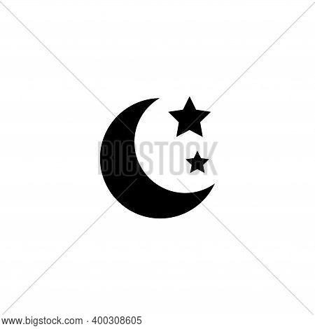 Moon And Stars, Night Sky, Nighttime. Flat Vector Icon Illustration. Simple Black Symbol On White Ba
