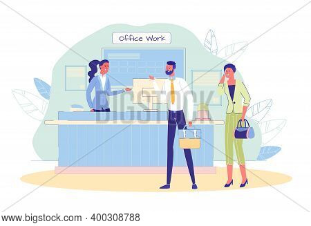 Receptionist Meeting Man And Woman Worker At Reception Desk. Office Work. Administrator Giving Advic