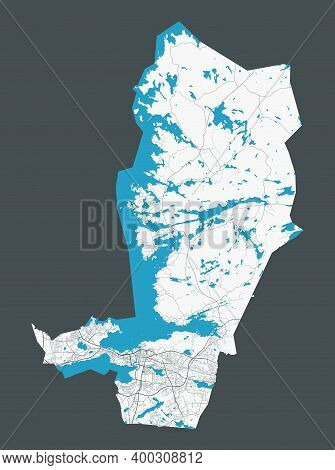Tampere Map. Detailed Map Of Tampere City Administrative Area. Cityscape Panorama. Royalty Free Vect