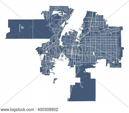 Albuquerque Map. Detailed Vector Map Of Albuquerque City Administrative Area. Cityscape Poster Metro