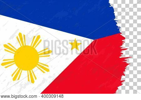 Horizontal Abstract Grunge Brushed Flag Of Philippines On Transparent Grid. Vector Template.